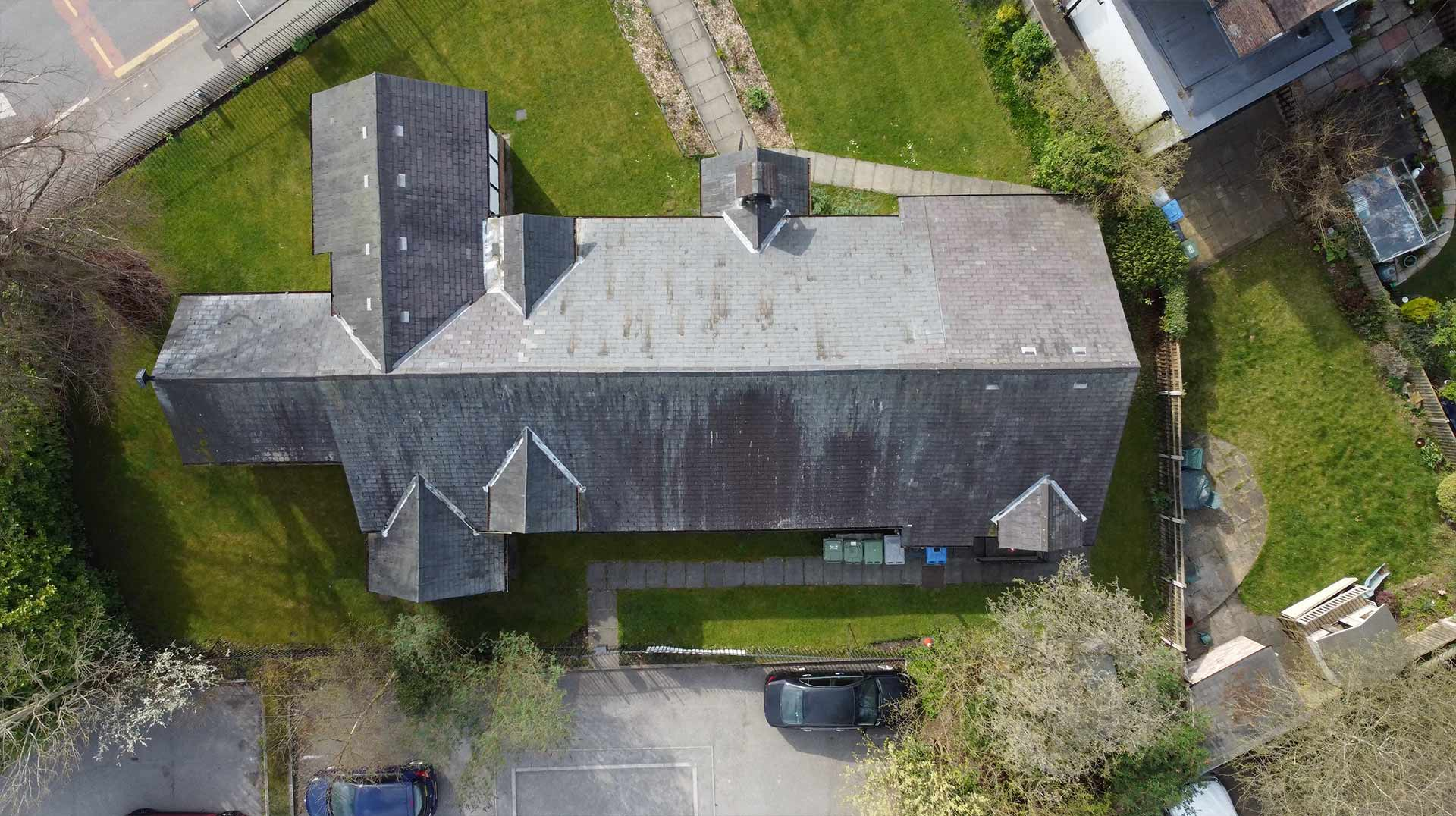 Drone Photograph of Church Roof