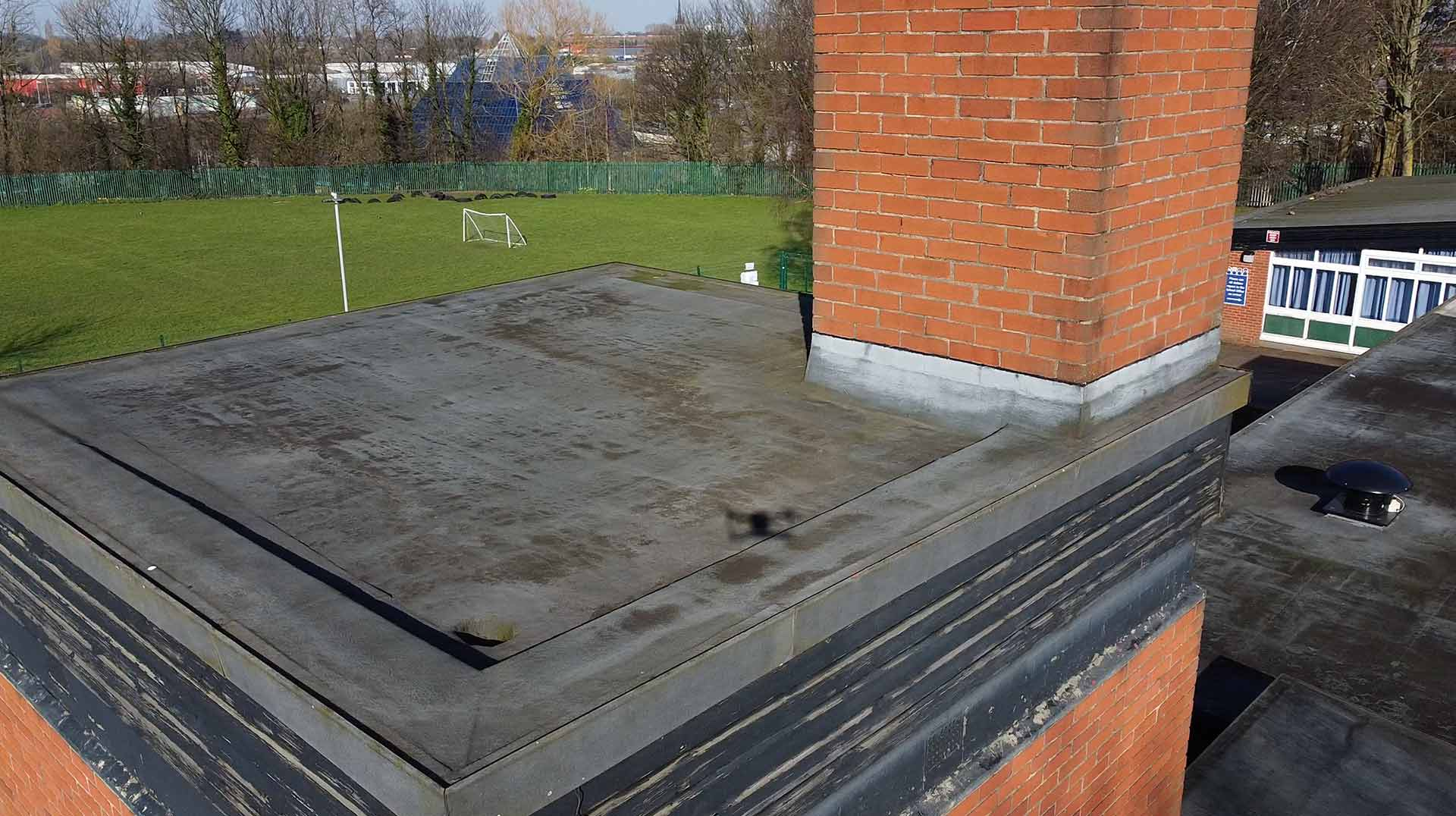 Flat roof drone roof inspection