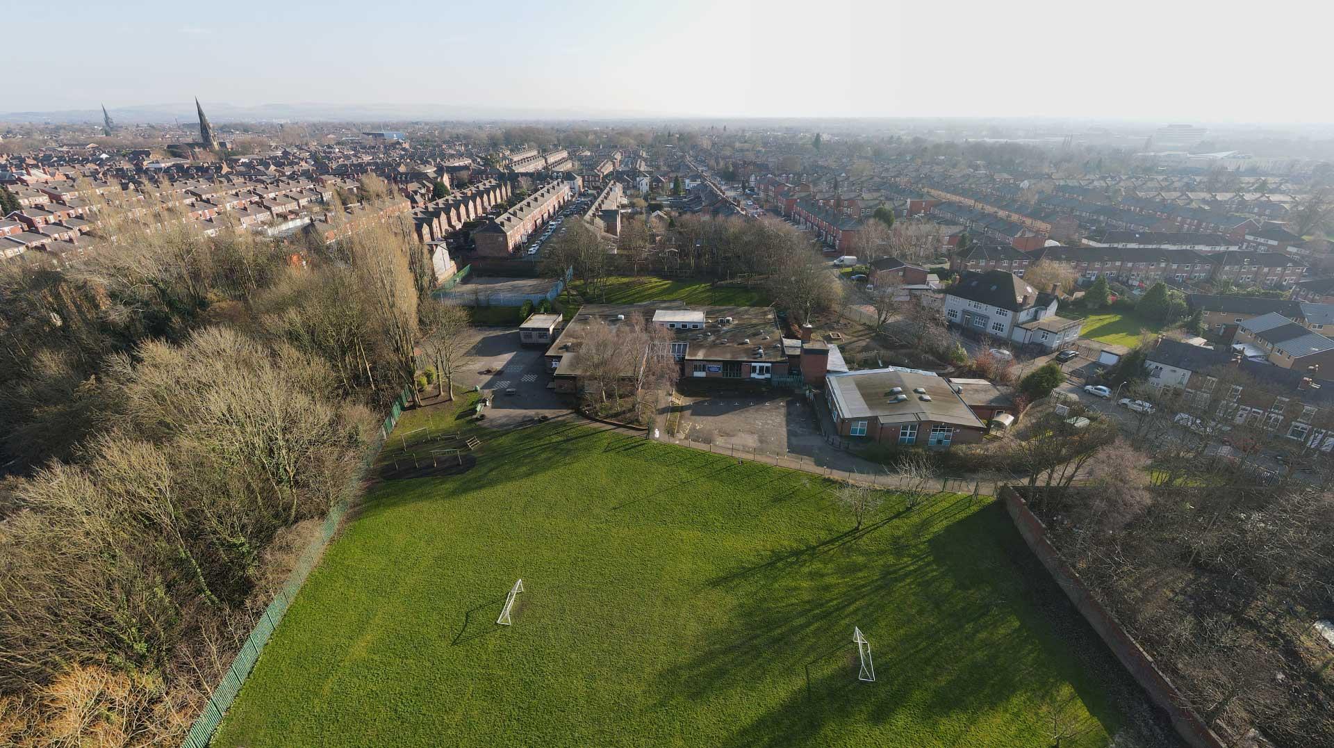 Aerial photograph of Lark Hill School Stockport
